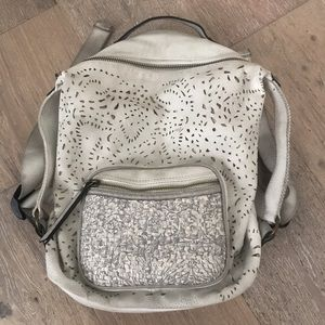 free people eyelet cutwork lace off-white backpack